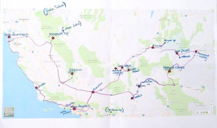 getekende route zuidwest amerika